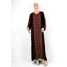 Black Dress / kaftan / Tobe / Thobe with beautiful Red Palestinian Cross Stitch / Embroidery