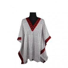 Embroidered Kufiah Blouse - Palestinian Kufiah stitched with red color like blouse style - Palestinian Embroidery